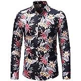 Gran promoción! Camisa de Manga Larga de la Blusa de Manga Larga con Estampado de Flores de otoño Invierno de los Hombres de Moda de Internet.