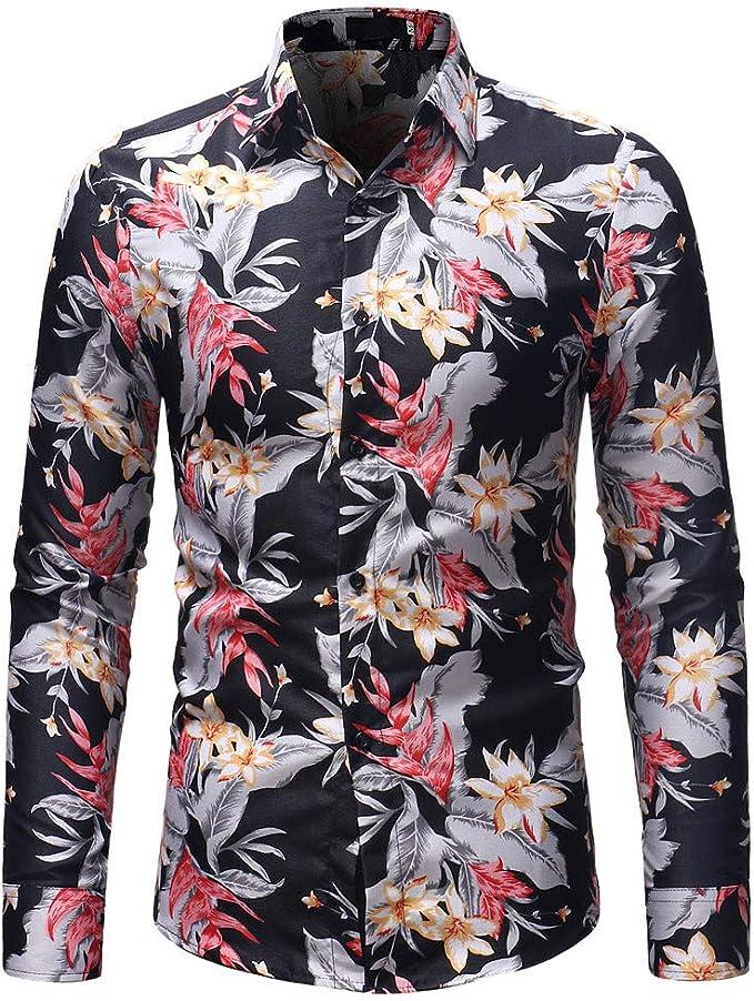 Gran promoción! Camisa de Manga Larga de la Blusa de Manga Larga con Estampado de Flores de otoño Invierno de los Hombres de Moda de Internet.: Amazon.es: Ropa y accesorios
