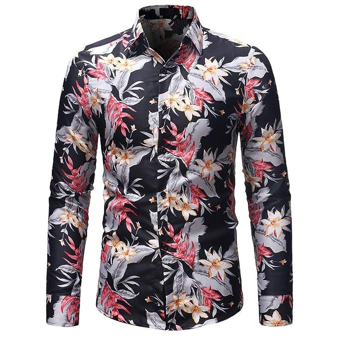 deab39de08c2f Camisa de Manga Larga de la Blusa de Manga Larga con Estampado de Flores de  otoño Invierno de los Hombres de Moda de Internet.  Amazon.es  Ropa y  accesorios