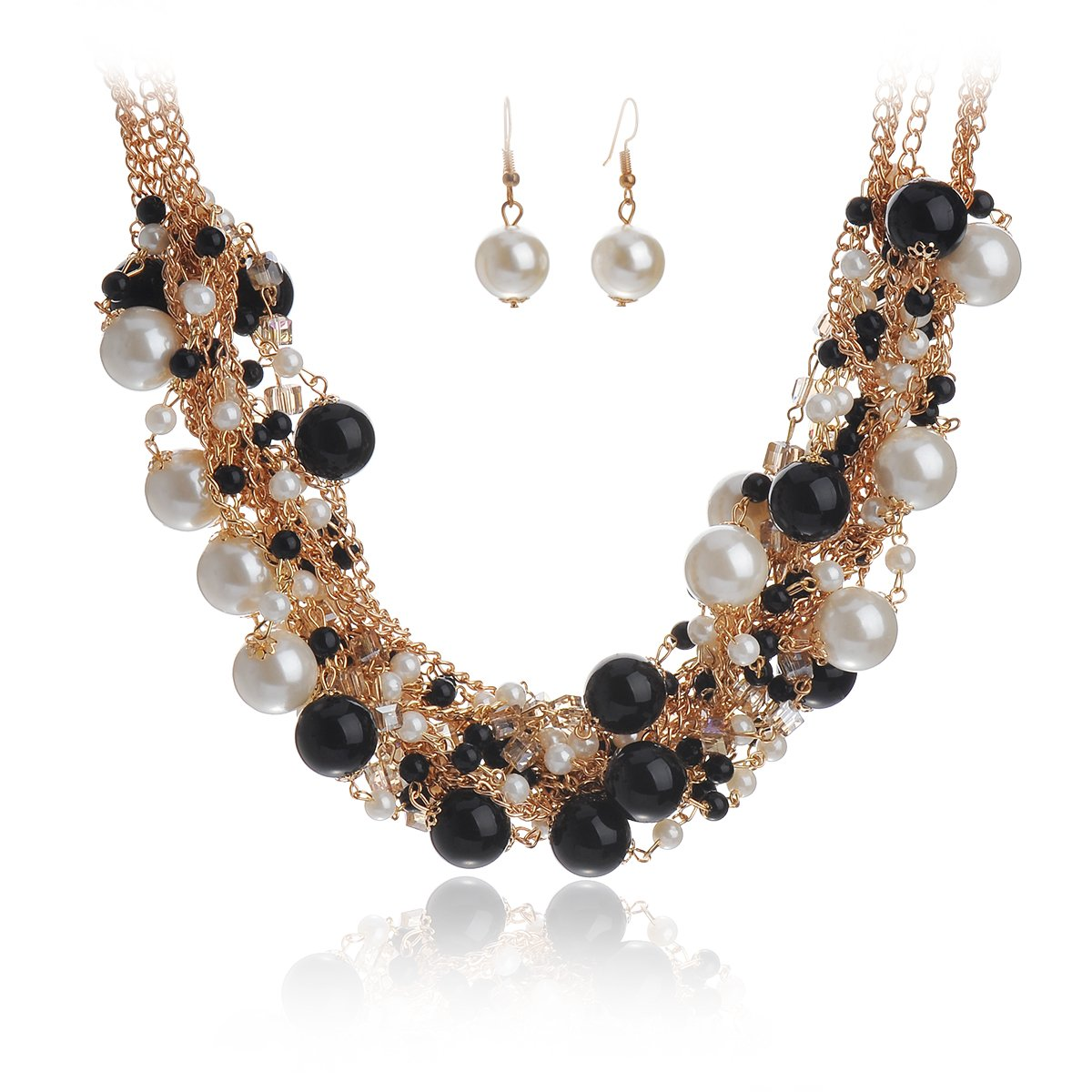 IPINK Fashion Charm Jewelry Pendant Faux Pearl Choker Chunky Statement bib Necklace and Earrings Set ZZZ003