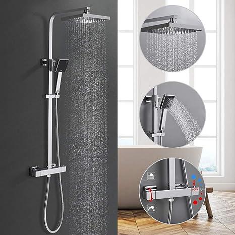 Cromo BONADE Sistema de ducha termostaticas Set de Ducha Columna de ducha con Handheld Bidet y Ducha de Mano y Ducha de Lluvia Agua Fr/ía y caliente Lat/ón