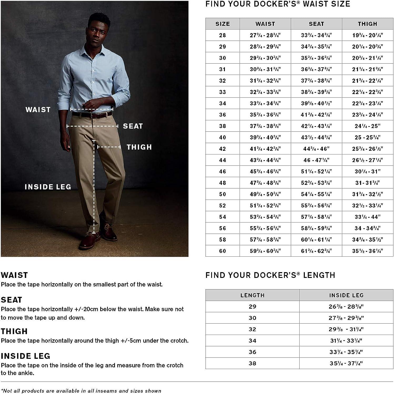 Dockers Men's New Iron-Free Flat-Front Khaki Pant Grey/Navy Novelty Pattern