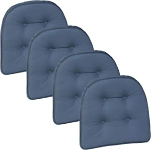 Klear Vu Twill Gripper Non-Slip Chairpad, Set of 4, Wedge Blue