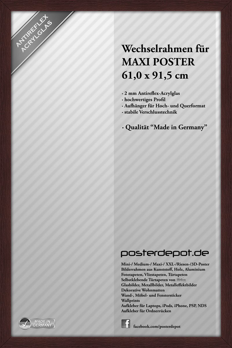 Holzrahmen Bilderrahmen Wechselrahmen für Maxi Poster - Größe 61 x ...
