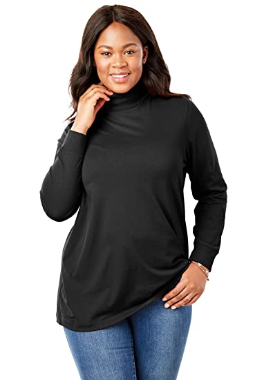 895cb1c0 Woman Within Women's Plus Size Petite Perfect Long Sleeve Turtleneck at Amazon  Women's Clothing store: