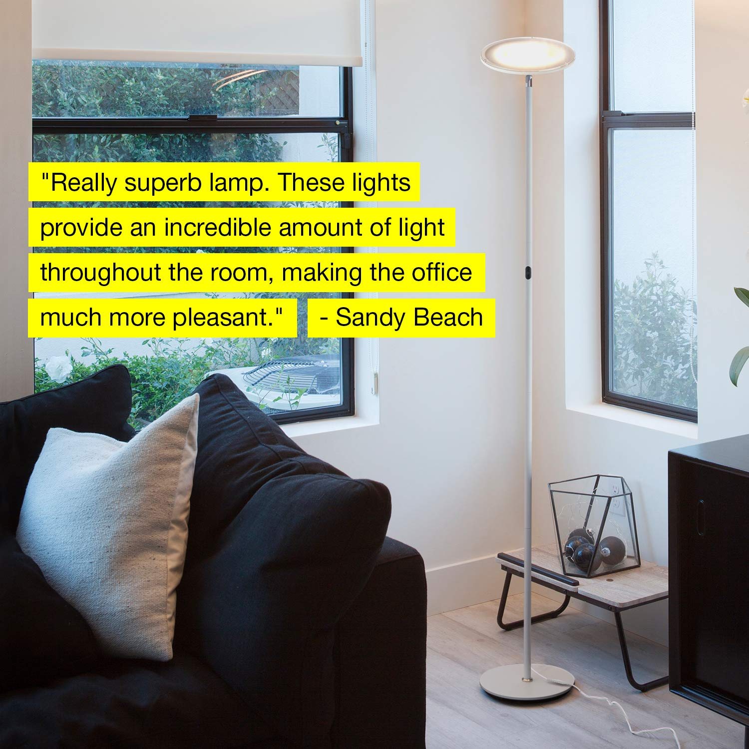B01KMWCNBY Brightech Sky LED Torchiere Super Bright Floor Lamp - Contemporary, High Lumen Light for Living Rooms & Offices - Dimmable, Indoor Pole Uplight for Bedroom Reading - White 51UcdAApynL