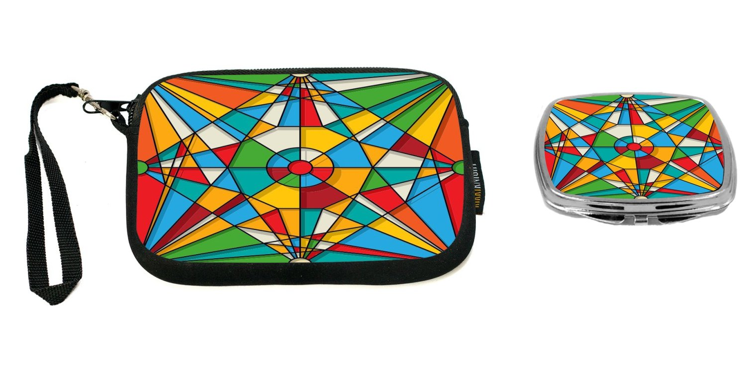 Rikki Knight Abstract Stained Glass Window Design Design Neoprene Clutch Wristlet with Matching Square Compact Mirror