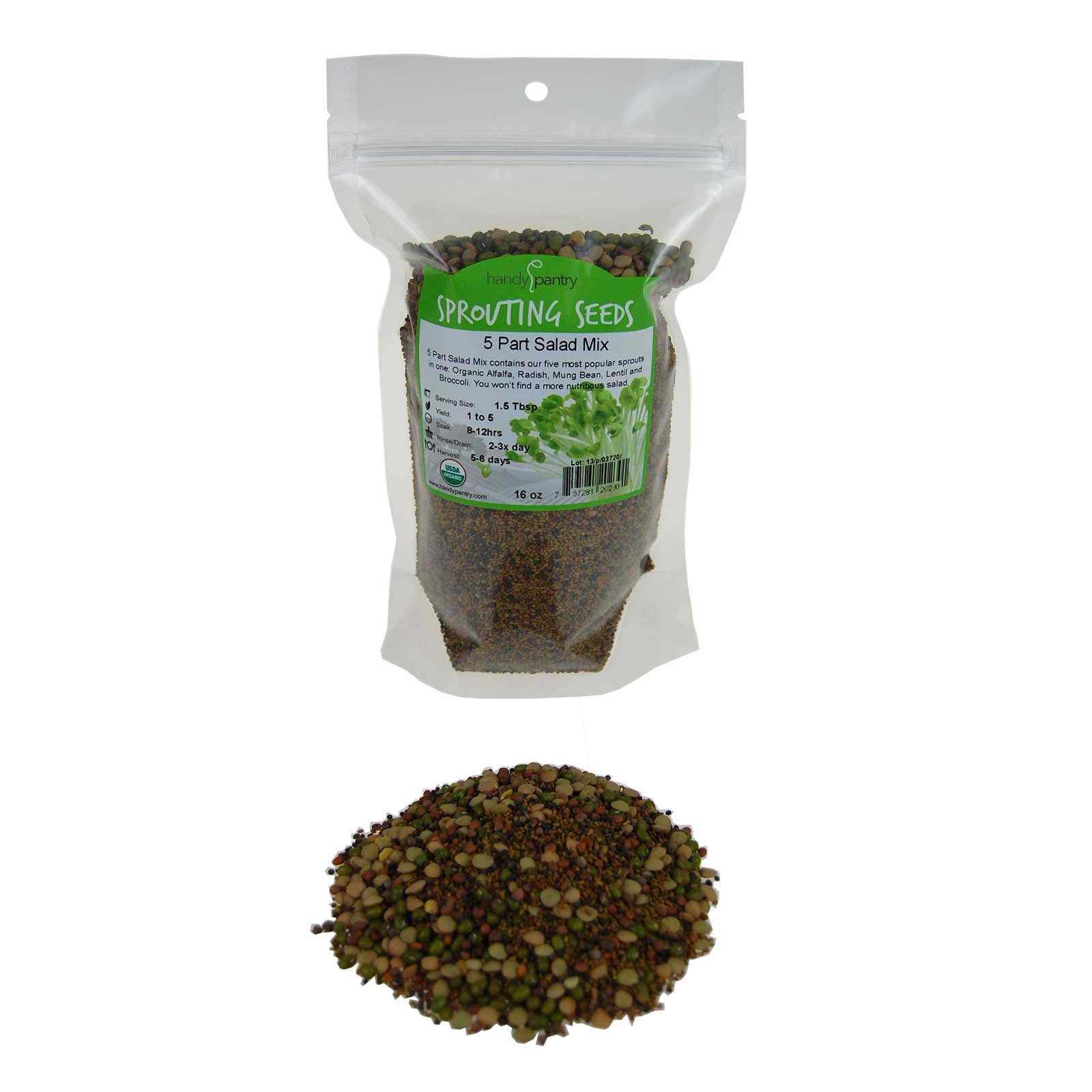5 Part Salad Sprout Seed Mix -1 Lbs- Organic Sprouting Seeds: Radish, Broccoli, Alfalfa, Green Lentil & Mung Bean - For Sprouts