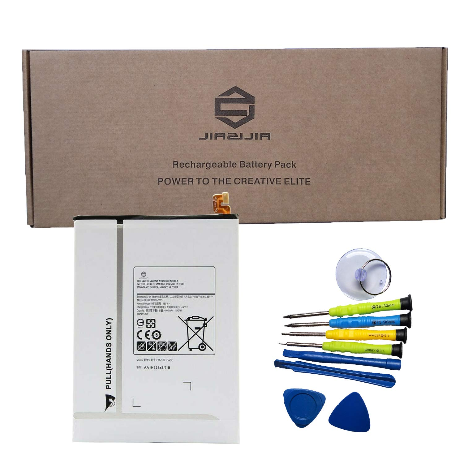 JIAZIJIA EB-BT710ABE Tablet Battery Replacement for Samsung Galaxy Tab S2 8.0 SM-T710 SM-T713 SM-T715 SM-T715C SM-T715N0 SM-T715Y SM-T719 SM-T719C Series EB-BT710ABA Tools 3.85V 15.4Wh 4000mAh by JIAZIJIA