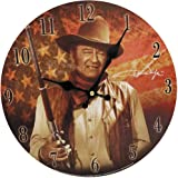 "Midsouth Products John Wayne Clock - John Wayne with Flag 11.75"" Diameter"