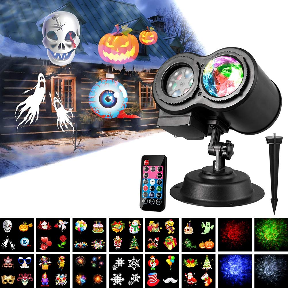 Gsha Water Wave Lights, LED Projector Lights 12 Slides with Remote Control Waterproof 2 in 1 Landscape Lights for Indoor Outdoor Party Easter Halloween Christmas Decoration