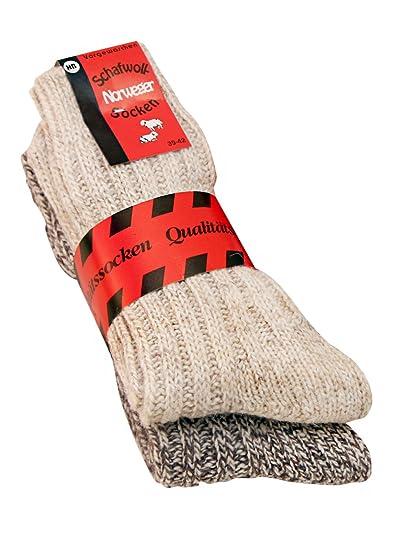 Calcetines para hombre y mujer suaves de lana de oveja noruega (2 pares), hasta talla 50 marrón farbig natur: Amazon.es: Ropa y accesorios