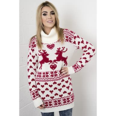 Fairisle Knitted Christmas Jumper Dress with Roll Neck in Cream ...