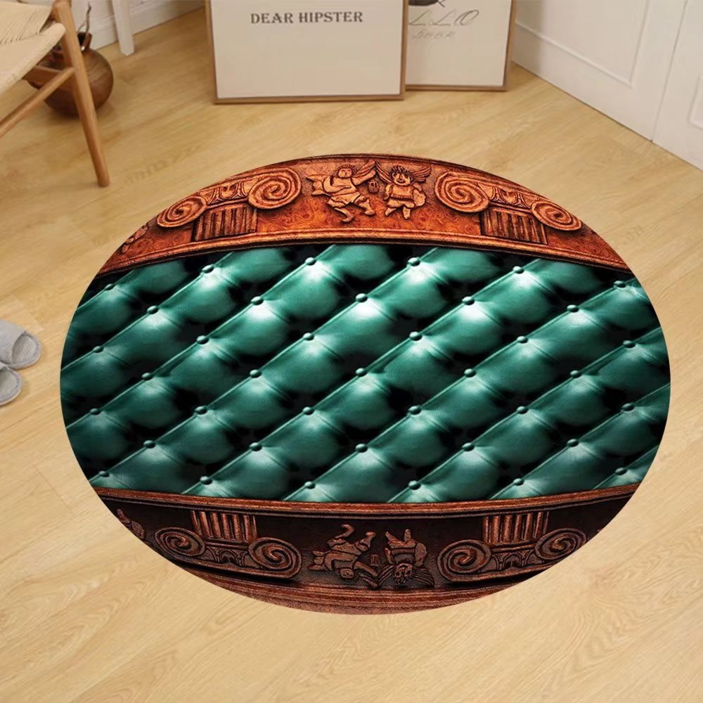 Gzhihine Custom round floor mat Victorian Decor Collection wooden ornament on leather couch bed headboard panel wood molding plaque Bedroom Living Room Dorm