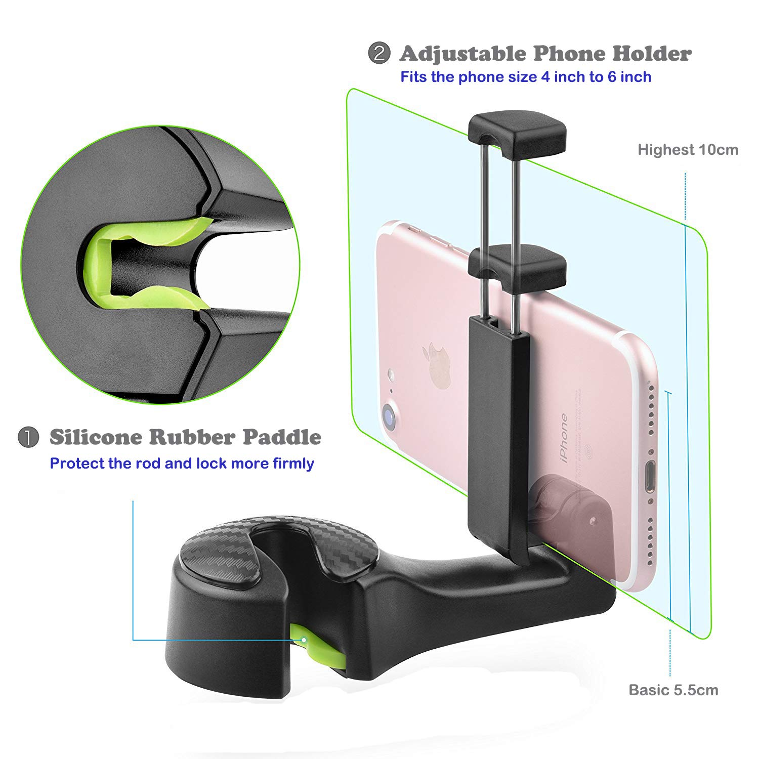 Car Backseat Hooks with Phone Holder,Universal Vehicle Car Headrest Hooks Hanger with Lock and Phone Stand for Holding Phones and Hanging Shopping Bag, Purse, Cloth, Grocery Bags - Pack of 2