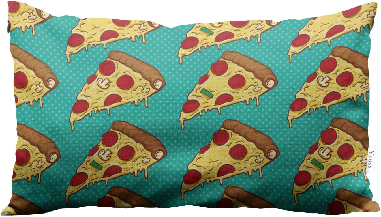 Yeuss Throw Pillow Cover Colorful Pizza Slices Traditional Italian Food Pizzas Decorative Throw Pillow Cover Cushion Case Rectangle 12X20 Inch Two Sides Design Printed Pillowcase