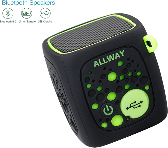 Amazon Com Small Bluetooth Speaker Allway Ultra Compact Mini Portable Bluetooth Speakers With Loud Stereo Sound Rich Bass Tf Card Port 164 Feet Bluetooth 5 0 Range For Laptop Iphone Echo Car And More