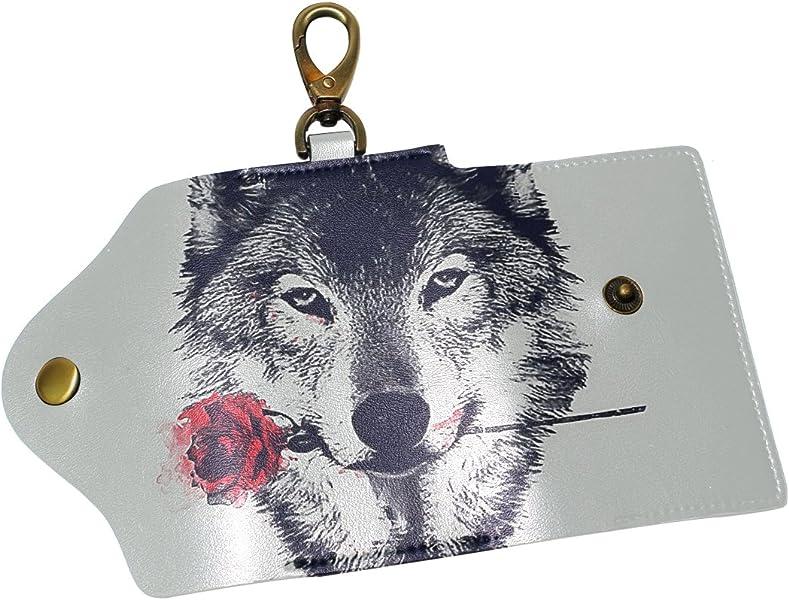 DEYYA Black And White Cat Leather Key Case Wallets Unisex Keychain Key Holder with 6 Hooks Snap Closure
