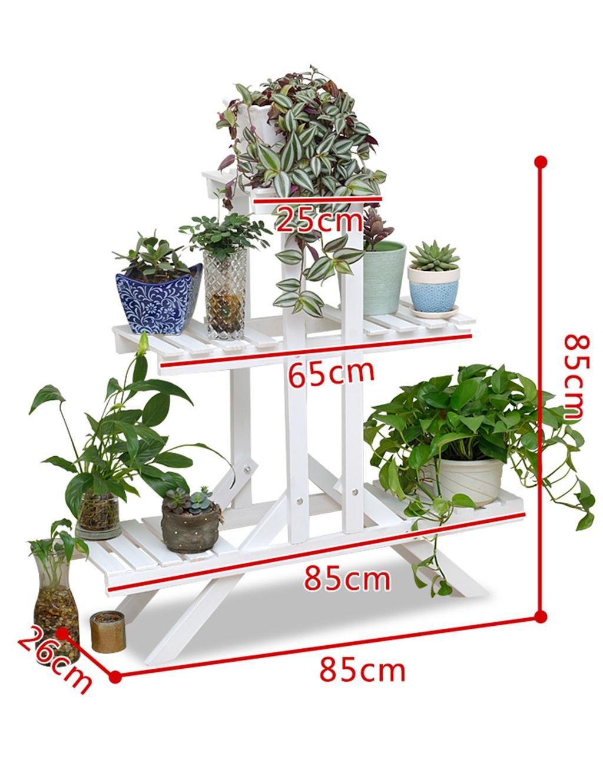 Europäische - Stil Kreative Zwei - Story Hölzerne Blumentopf Rack Wohnzimmer Balkon Hölzerne Blumentopf Regal ( farbe : Weiß )