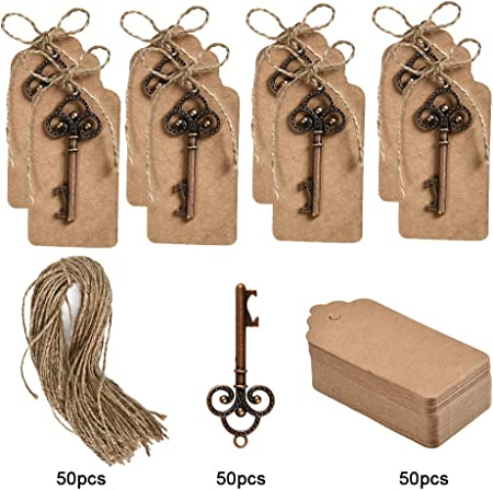 WOWOSS 50 Juego de abrebotellas de decoración de boda con etiquetas de tarjeta vintage y cuerda de cáñamo para invitados o regalos de fiesta
