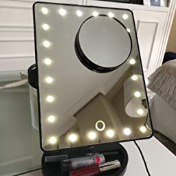 MVPOWER Espejo de Mesa Espejo Cosm/ético de Maquillaje con Pantalla T/áctil con Luz LED 24 LEDs Brillantes 360/°de Rotaci/ón para Mesa Ba/ño Viaje Afeitado