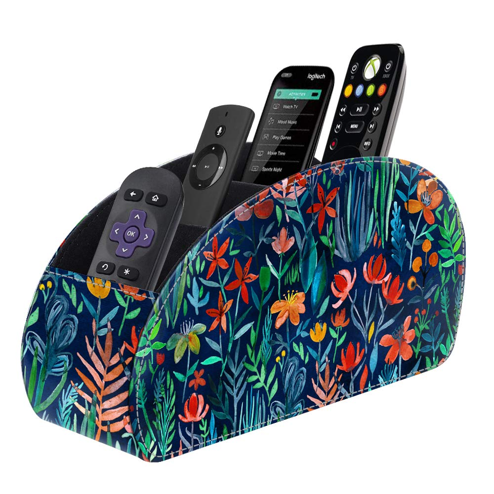 Fintie Remote Control Holder, Vegan Leather TV Remote Caddy Desktop Organizer 5 Compartments Fits TV Remotes, Media Controllers, Office Supplies, Makeup Brush, Jungle Night