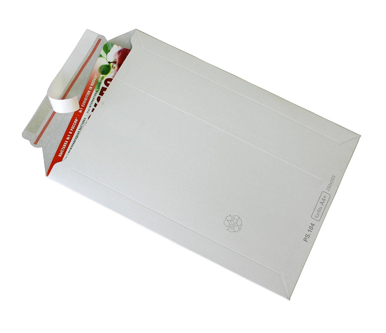 100 Buste in cartone bianco cartone DIN A4 –  Piatto: 315 X 240 mm/aufgestellt 280 X 190 X 50 mm (Articolo: PS.103) OOO KURT