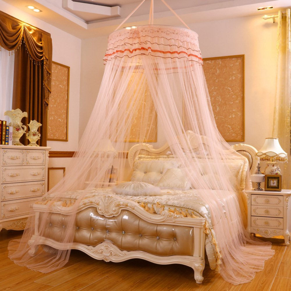 Lustar Princess Lace Mosquito Net Bed Canopy for Children Fly Insect Protection Indoor Decorative Height 2.8m Top Diameter 0.6-1m,Creamb