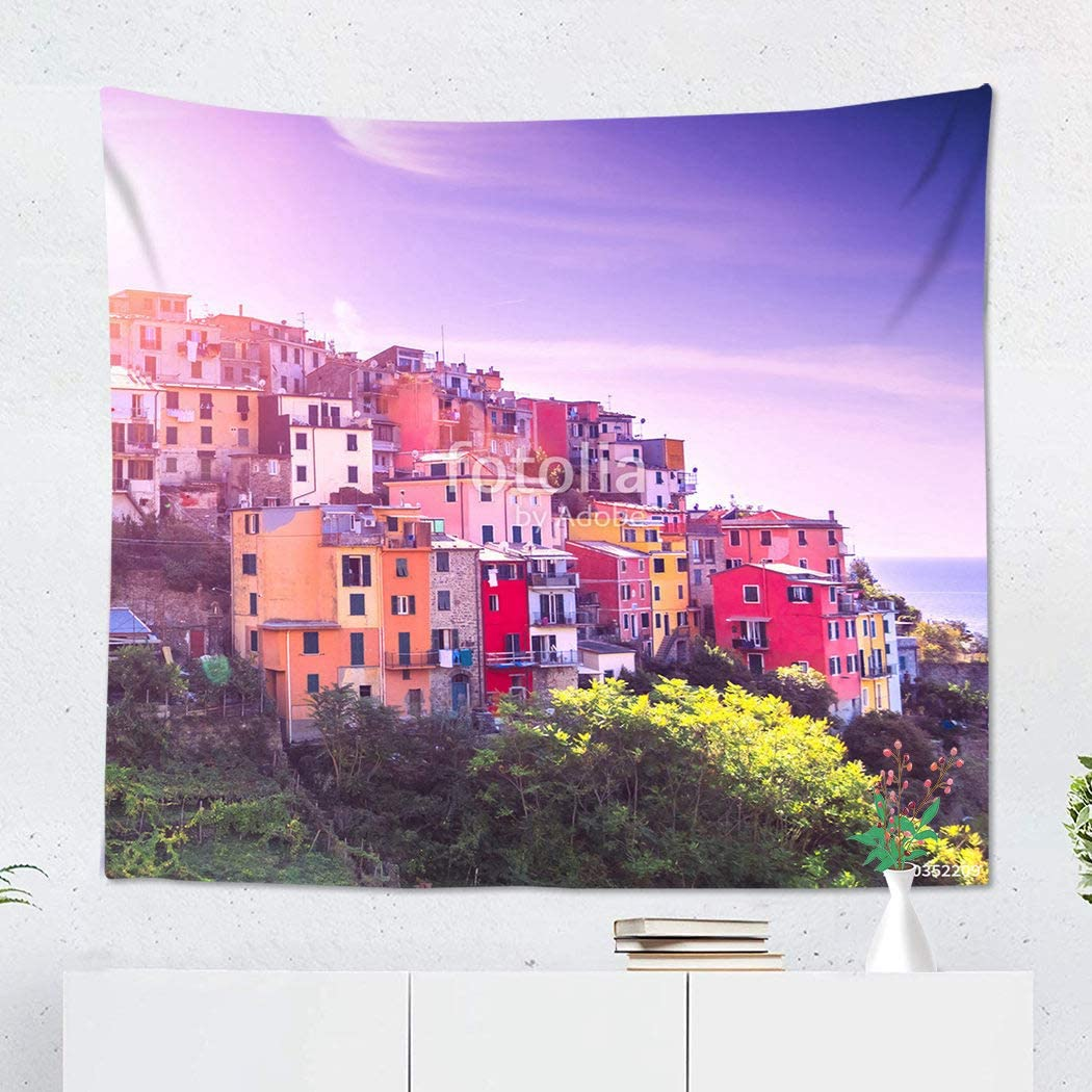 Sgvsdg Tapestry Third Village of The Cique Terre Italy Sequence Hill Cities Corniglia During Sun 50x60 Inch Wide Wall Hanging Polyester Dorm Art Bedrooms Living Room Beach Blankets Curtains Design