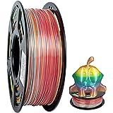 PLA Filament 1.75mm Geeetch 3D Printer 1.75mm Silk Rainbow Multicolor PLA Filament for 3D Printers and 3D Pens, 1kg per Spool