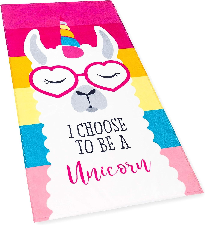 Llama Unicorn Beach Towel Pink