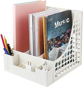 Desktop File Organizer, Office Supplies Desk Accessories with Pencil Holder for Desk Organization and Paper Organizer-Document Organizer, File Folder-White
