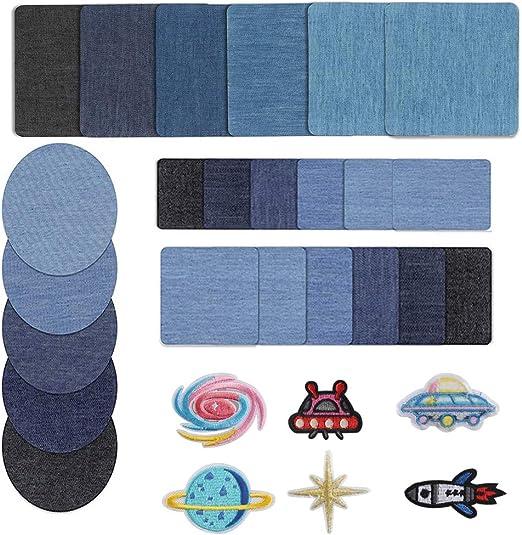 HO2NLE Bügelflicken Jeans Flicken zum aufbügeln 30 Pcs Denim Petches Aufnäher Kinder Aufbügelflicken für Kinder Jeans DIY Taschen Kleidung