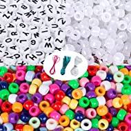 Korlon 1600 Pcs Pony Beads Letter Beads UV Beads Set, Beads for Bracelets, Crafts and Jewelry Making with Crystal Elastic String & 2 Elastic Cords