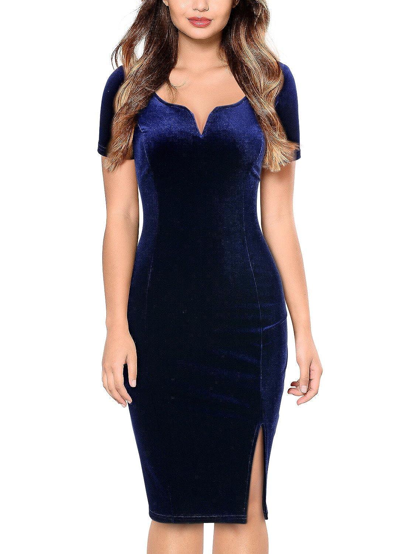 Miusol Damen Sommer Kleid Elegant Samtkleid V-Ausschnitt Velvet Vintage Cocktailkleider