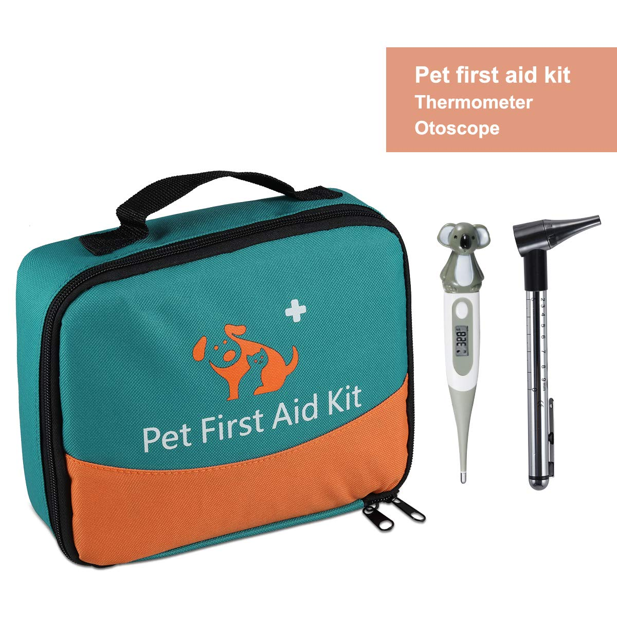 ONETWOTHREE Pet First Aid Kit for Dog, Cat, Rabbit and Other Animal,with Thermometer, Syringe, Otoscope, Perfect for Home Care and Outdoor Travel Emergencies by ONETWOTHREE