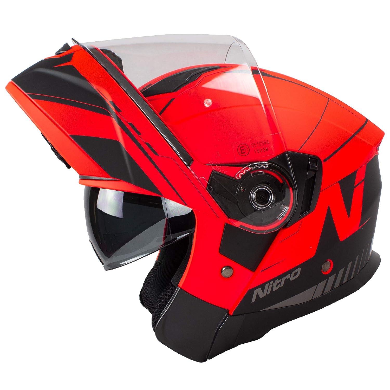 Nitro F350 Analog DVS Motorcycle Helmet Matt Black Gunmetal M Red