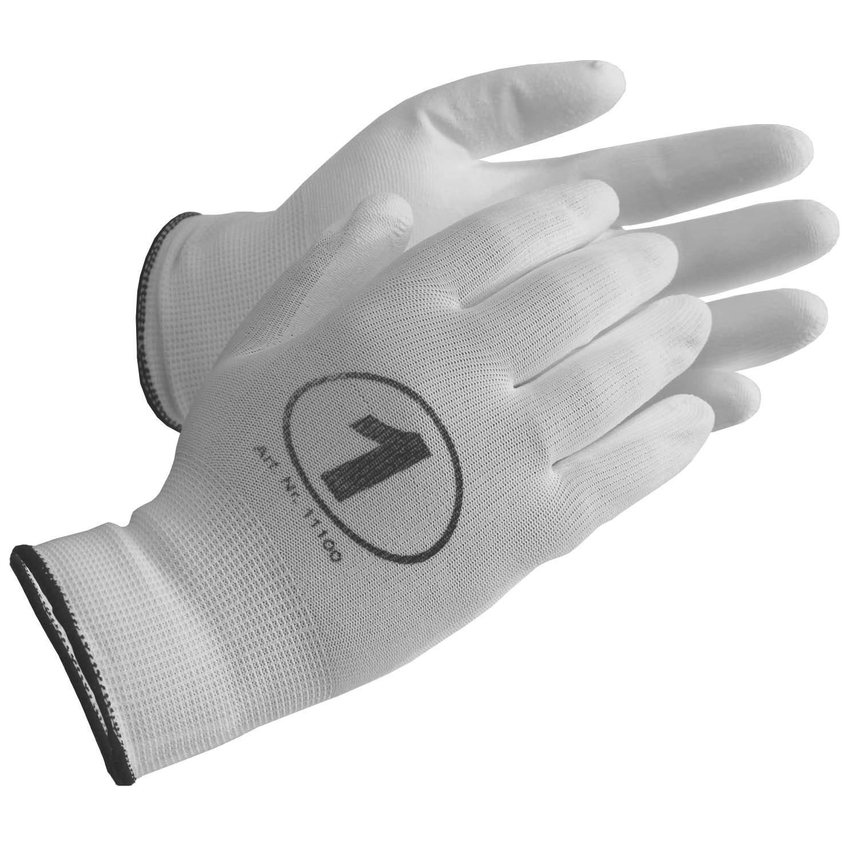 EU-Schutz (12 Paar) Nylon PU Strickhandschuhe - Arbeitshandschuhe mit Grip - Montagehandschuhe weiß (8)