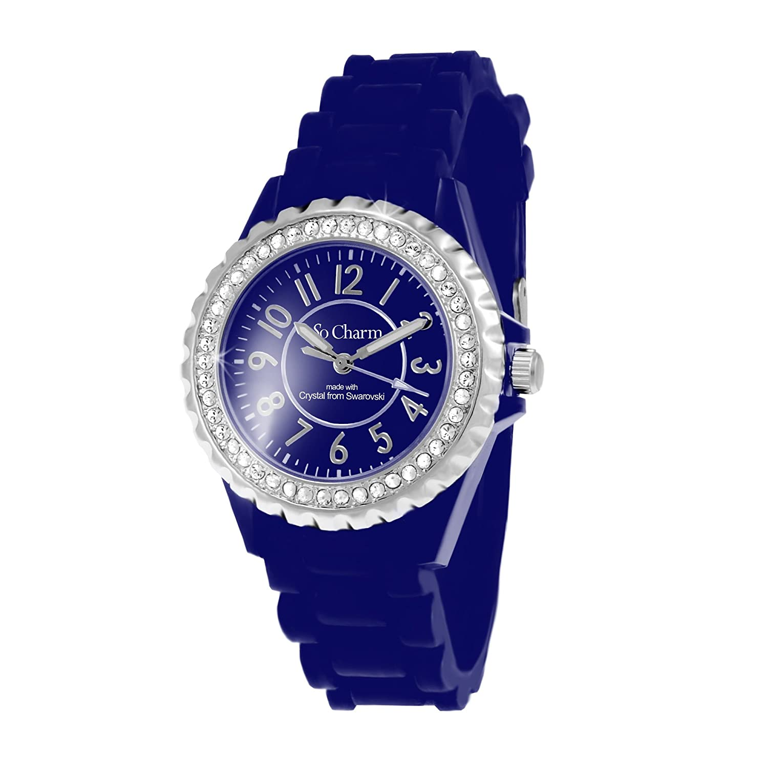 Zeigt Damen Armband Silikon Blau SO Charm Made with Crystal FROM Swarovski Elements