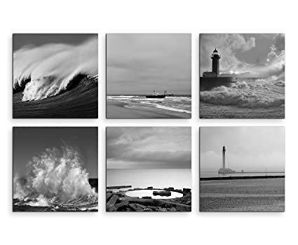Assortimento di 6 quadri moderni serie mai, 20 x 20 cm - bianco e ...