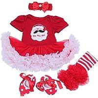 BabyPreg Baby Girls My First Christmas Santa Costume Party Dress 4PCS
