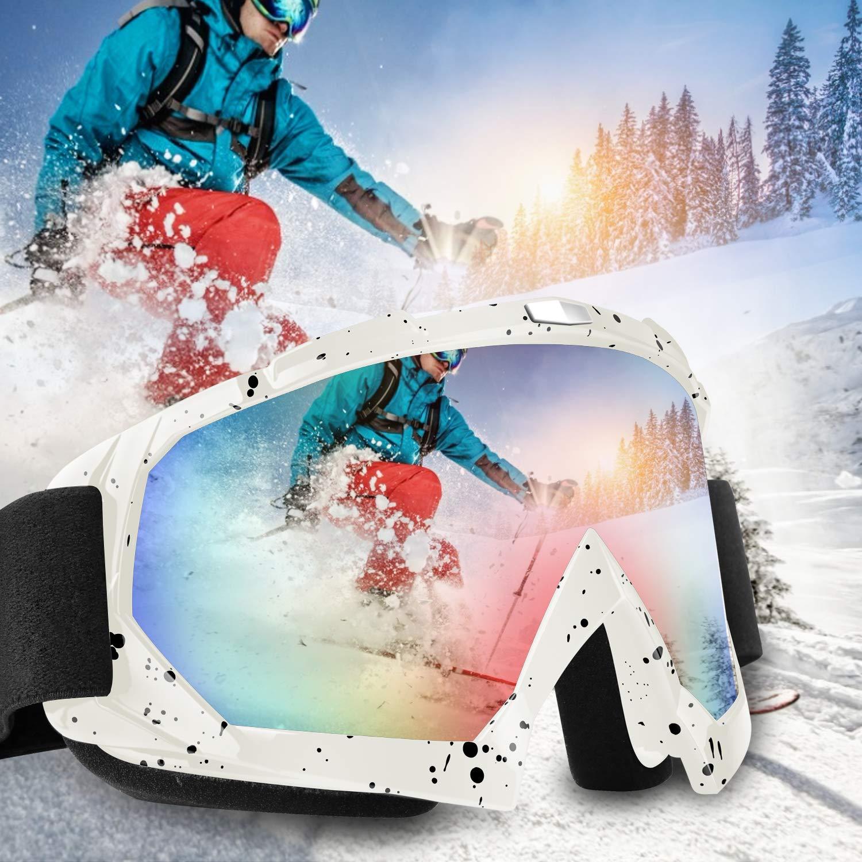 Lenti Staccabili motoslitta Ragazzi Uomini Antivento OTG Protezione UV400 antinebbia Comodi Occhiali da Moto per Sci DONWELL occhialini da Sci compatibili con Casco Unisex Donne