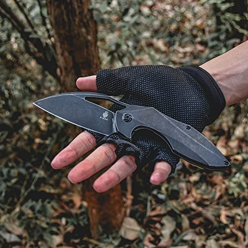 Kizer Cutlery Megatherium 3.625 Flipper Stonewash Plain Flooding Knife, Black