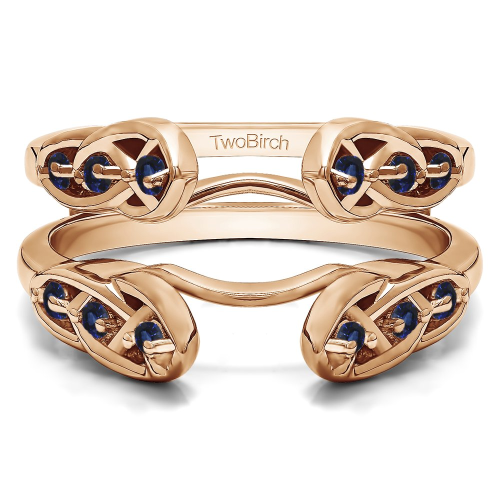 1/4 ct. Sapphire Infinity Celtic Ring Guard Enhancer in Rose Gold Plated Sterling Silver (0.24 ct. twt.)