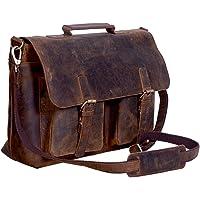 KomalC Maletín de cuero de búfalo de 16 pulgadas para ordenador portátil, bolso de mensajero de oficina para hombres y…