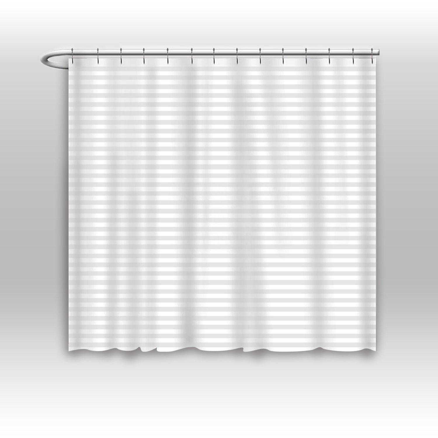 Vandarllin Hotel Quality Resistant Washable Fabric Shower Curtain Liner -Extra Wide 84 x 72, Water-Repellent, Elegant White Tonal Damask Stripe, Eco Friendly & PVC-Free by Vandarllin