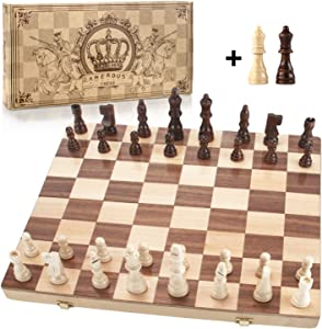 """Amerous 15"""" x 15"""" Magnetic Wooden Chess Set, Folding Travel Chess Board with 2 Extra Queens / Pieces Storage Slots / Carry Bag , Handmade Large Wooden Board Game for Kids and Adults"""