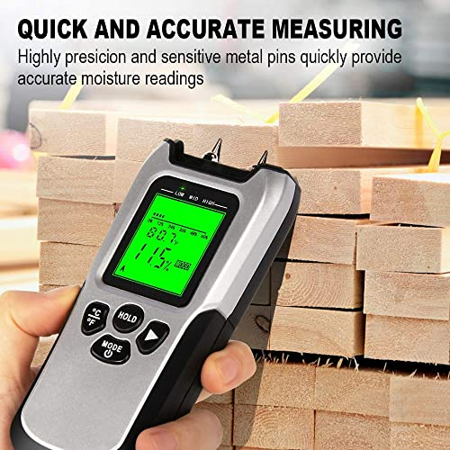 Wood Moisture Meter – Upgraded Moisture Meter for Wood, Pin-Type Digital Moisture Mold Detector Tester for Firewood, Backlit LCD Display With Visual High-Medium-Low Moisture Content Design