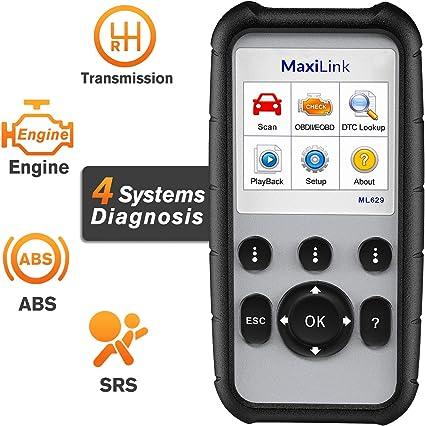 Autel MaxiLink ML629 Diagnósticos Coche OBD2 Escáner para ABS/SRS ...