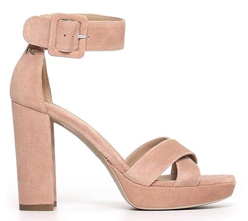 Sandali NeroGiardini P805840D 660 5840 in camoscio rosa cipria